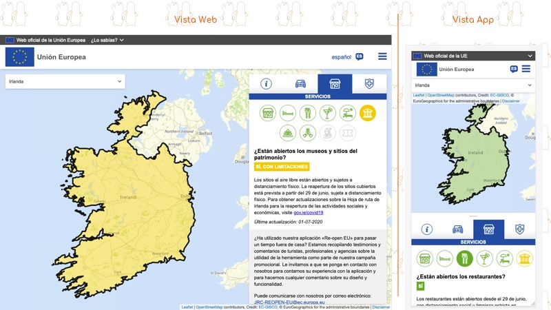 Re-open EU | Servicios en el país seleccionado