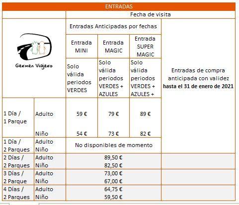 tabla precios entradas disneyland