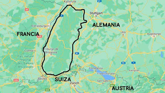 mapa selva negra alemania
